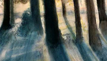 """Deb Stroh-Larson """"Blue Shadows"""" Watercolor Pastel"""