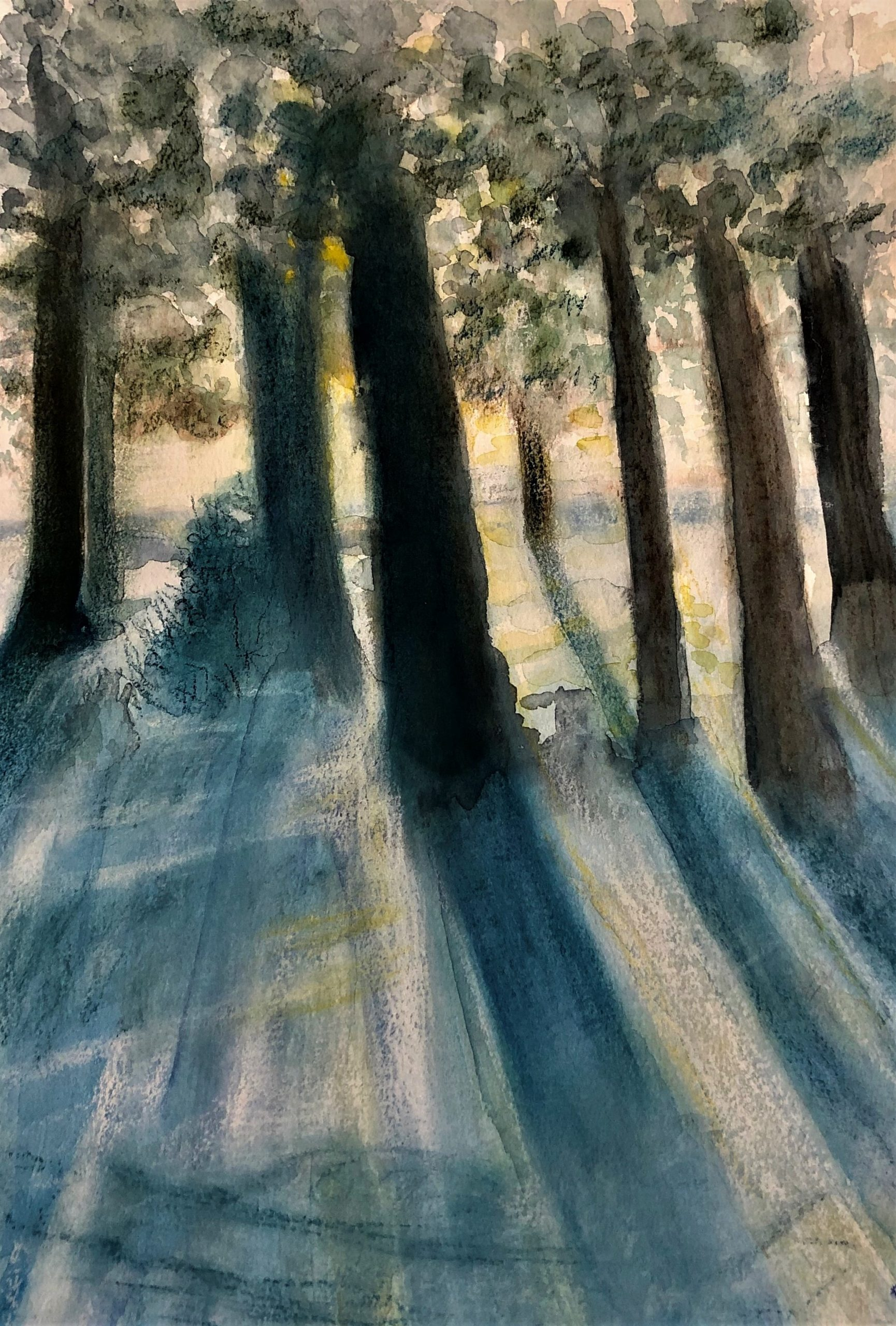 "Deb Stroh-Larson ""Blue Shadows"" Watercolor Pastel"