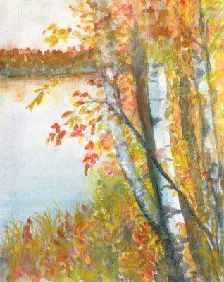 """""""Fall Birch"""" <br>Watercolor<br> 11""""x14"""""""