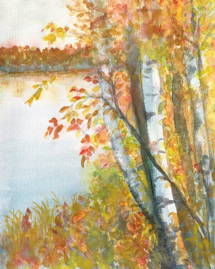 """Deb Stroh-Larson """"Fall Birch"""" Watercolor"""