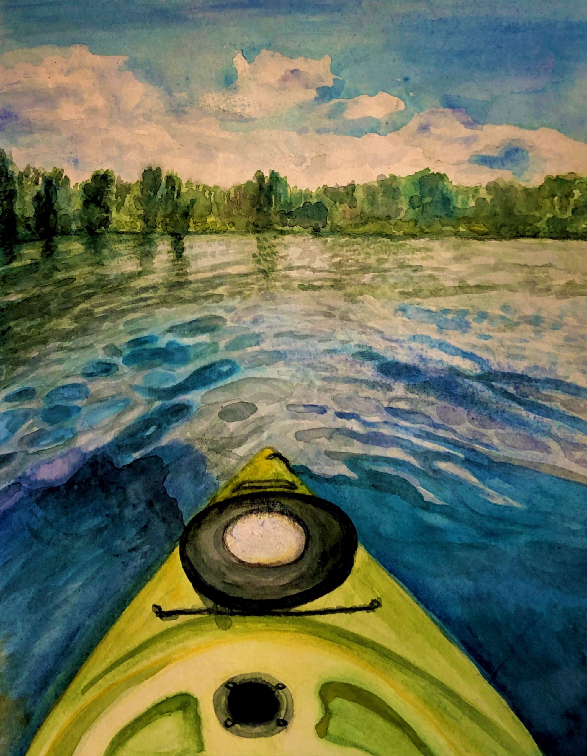 """""""Kayak Dreams""""<br> Watercolor<br> 9""""x11"""""""