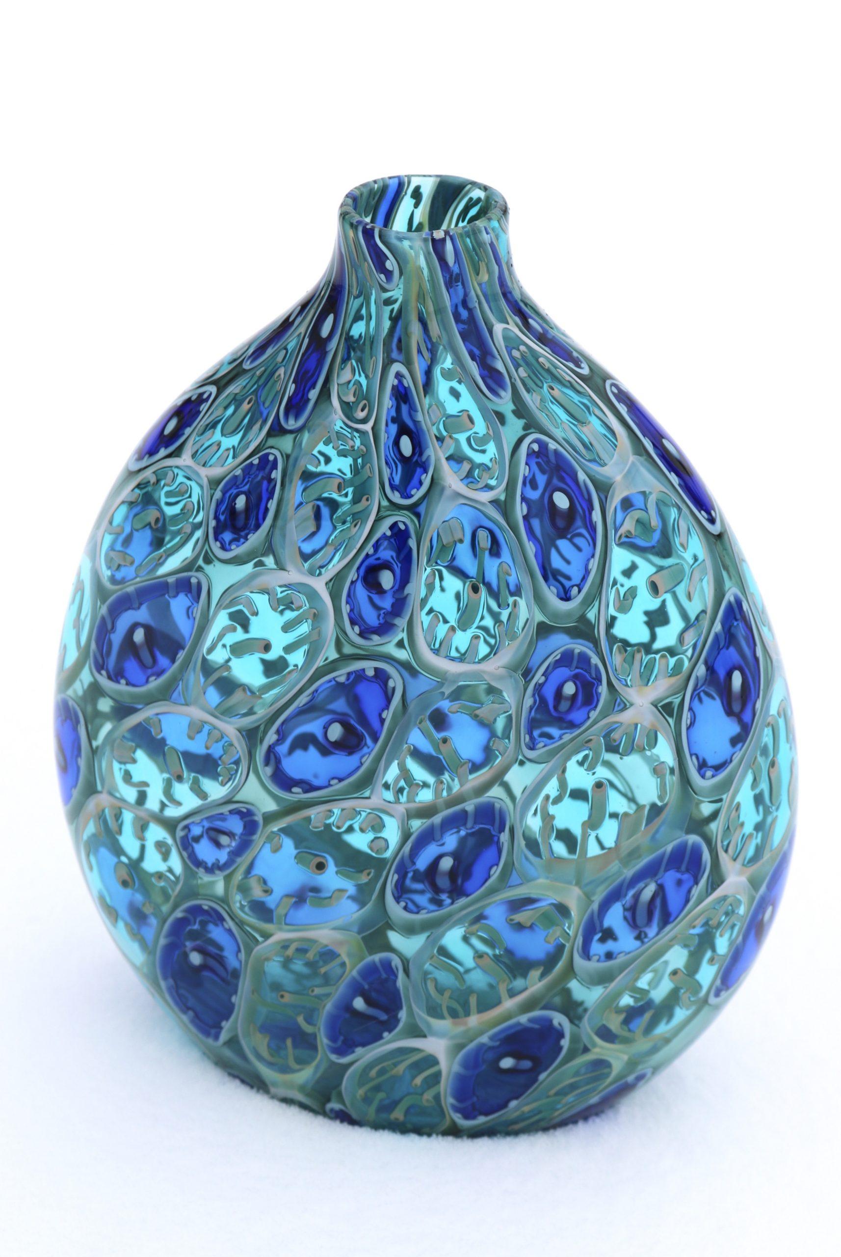 """BlueCell""<br> Blown Glass<br> 9""x6-1/2""x3"""