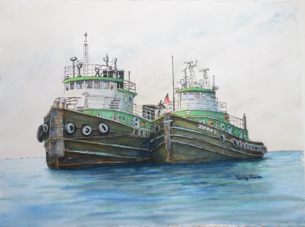 """Kerry Vavra """"Old Mates"""" Watercolor"""