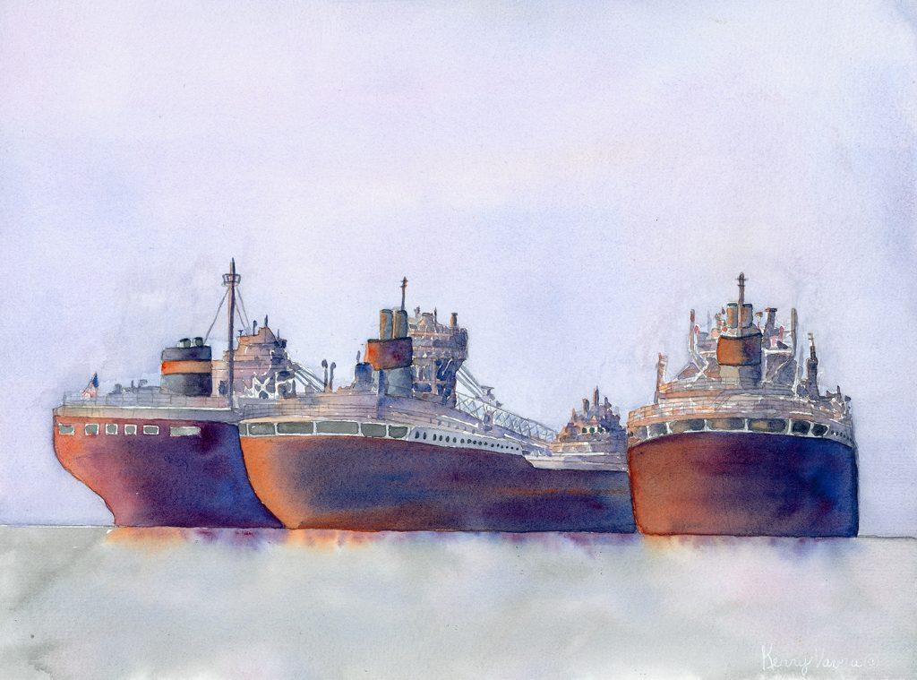 """Kerry Vavra """"Winter Fleet"""" Watercolor"""