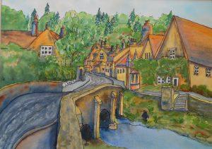 "Kerry Vavra ""English Village"" Watercolor"