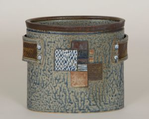 """Linda Sheard """"Oval Container with Strap Handles"""" Stoneware Clay"""