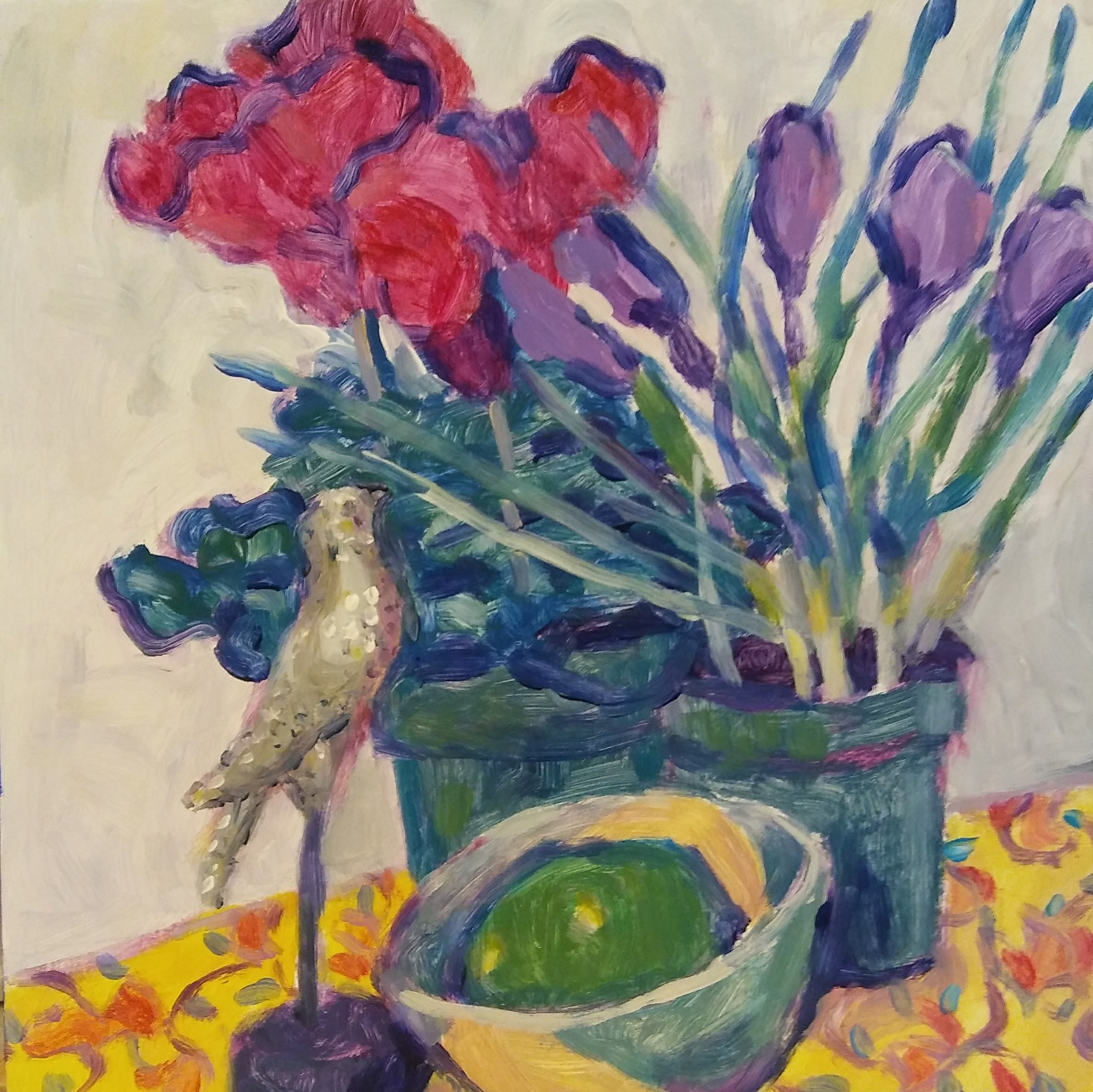 """Bird, Cyclamen, Crocus, Lime"" <br>Acrylic<br> 8""x8"""