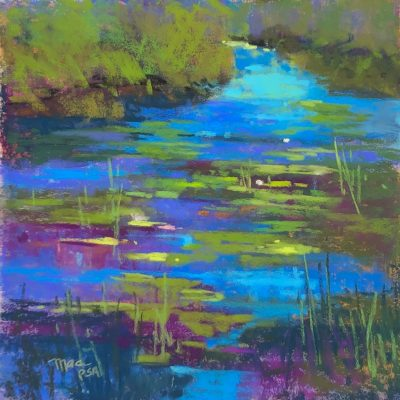 """""""Evening Water Lillies"""" <br> Pastel<br>   13""""x13"""""""