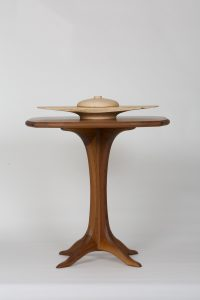"Michael Doerr Woodworking ""Black walnut wooden pedestal table (top)"" 22""x22""xH28"""