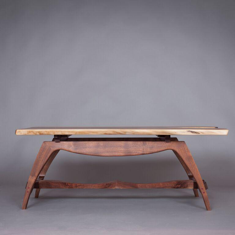 "Michael Doerr Woodworking ""Wilson Table"" (Profile) Black Walnut Wood 44""x28""x16"""