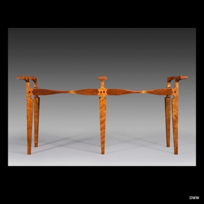 """Double Stool"" With Offset Handles<br> Cherry Wood<br> 46""x13""x21"""