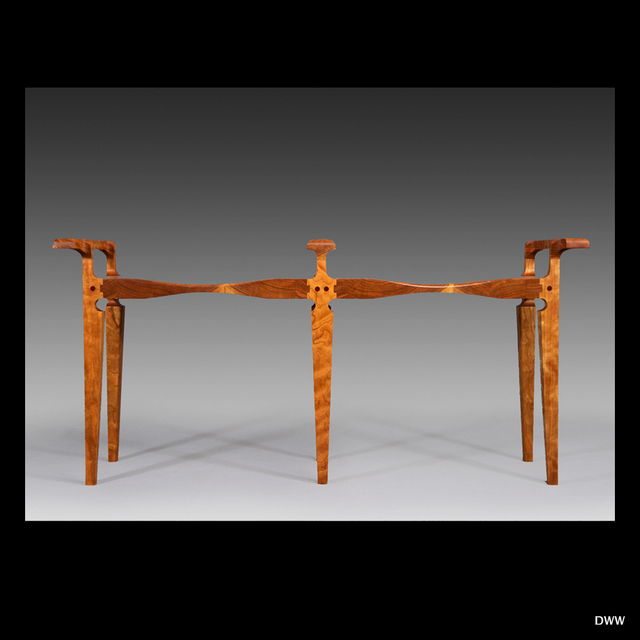 "Michael Doerr Woodworking ""Double Stool"" With Offset Handles Cherry Wood 46""x13""x21"""