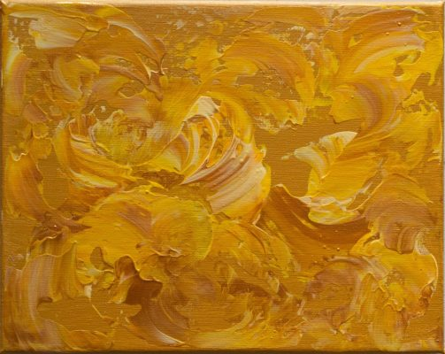"""Golden Flowers"" <br>Acrylic<br> 8""x10"""