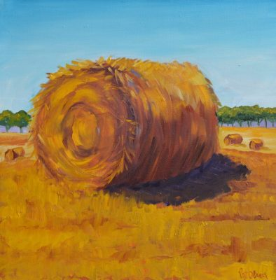 """""""Hay Bales"""" <br>Oil Painting<br> 16""""x16"""""""