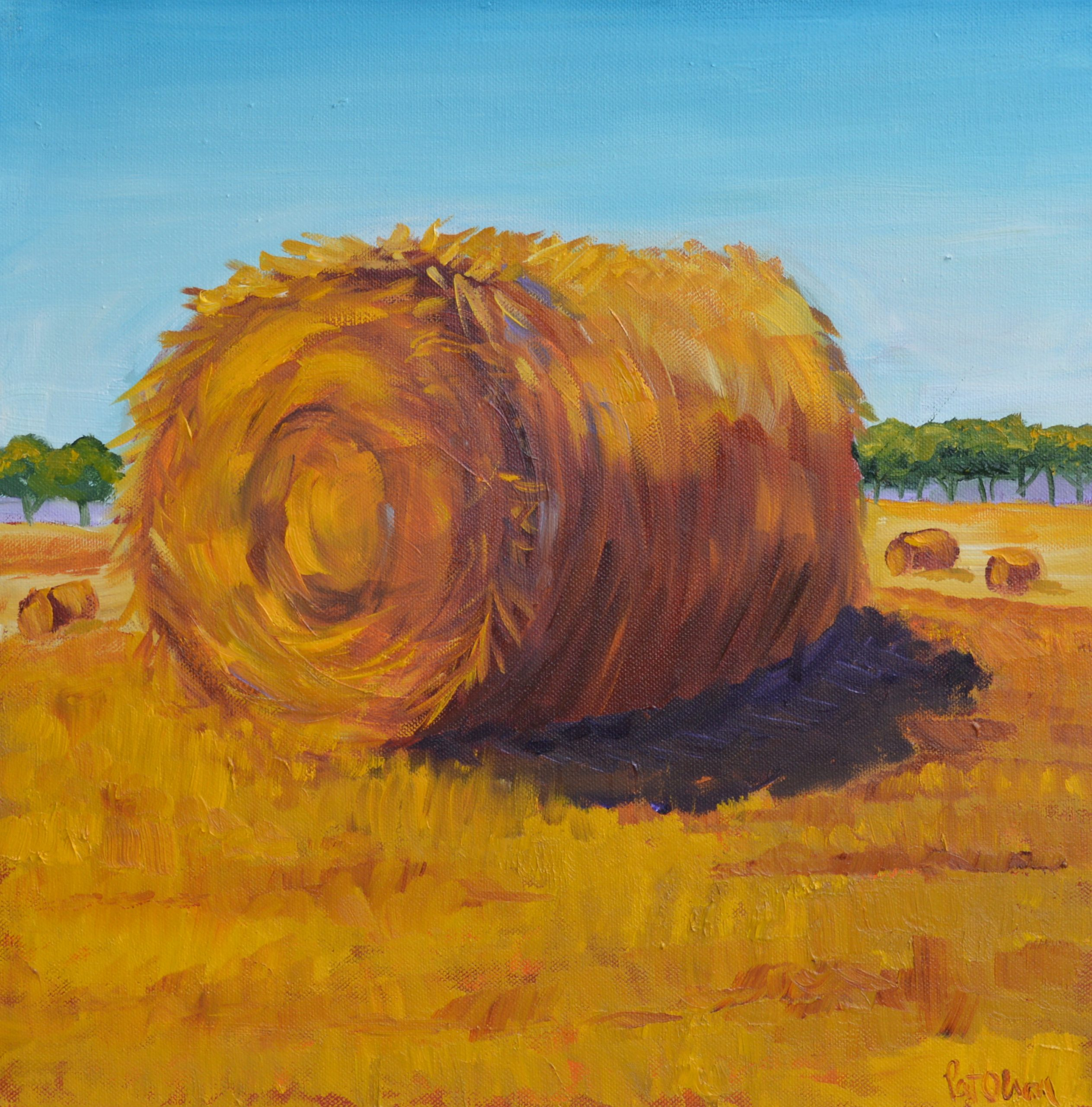 """Hay Bales"" <br>Oil Painting<br> 16""x16"""