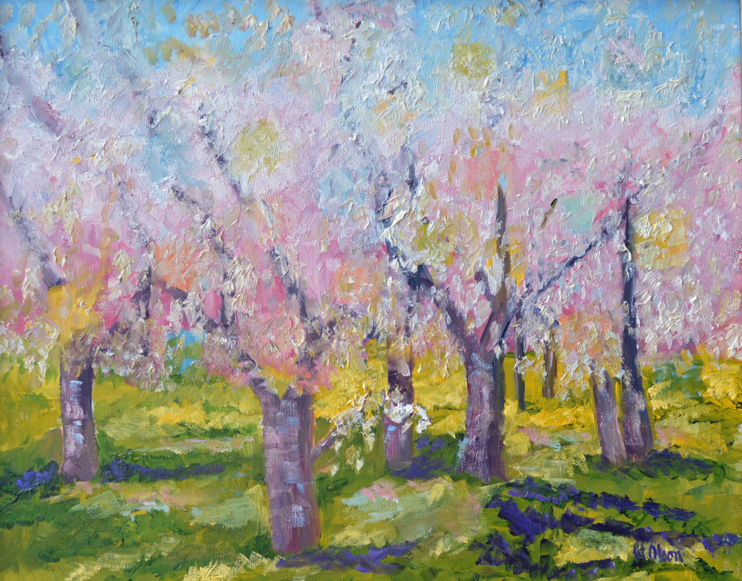 """Pink Flowering Trees""<br>Oil<br> 16""x20"""