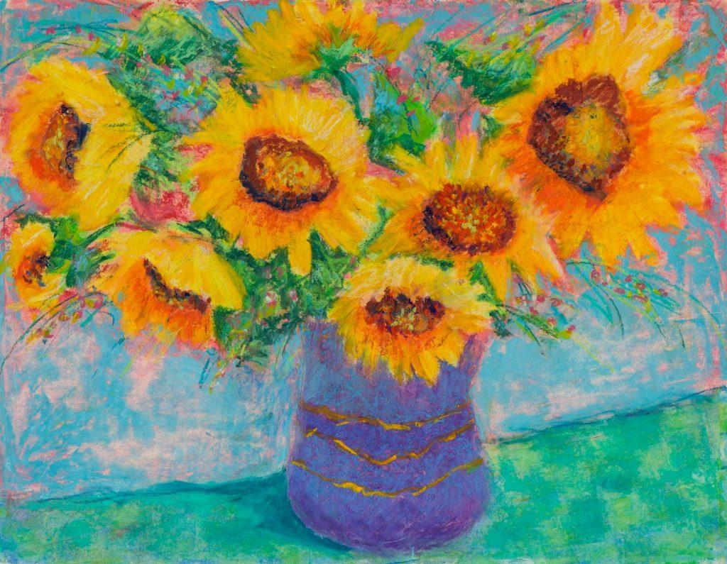 Pat-Olson-Sunflowers-in-Blue-Vase-Oil-Pastel