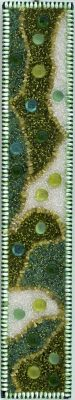 """Green Abstract""<br> Bead Painting<br>24""x4-1/4"""