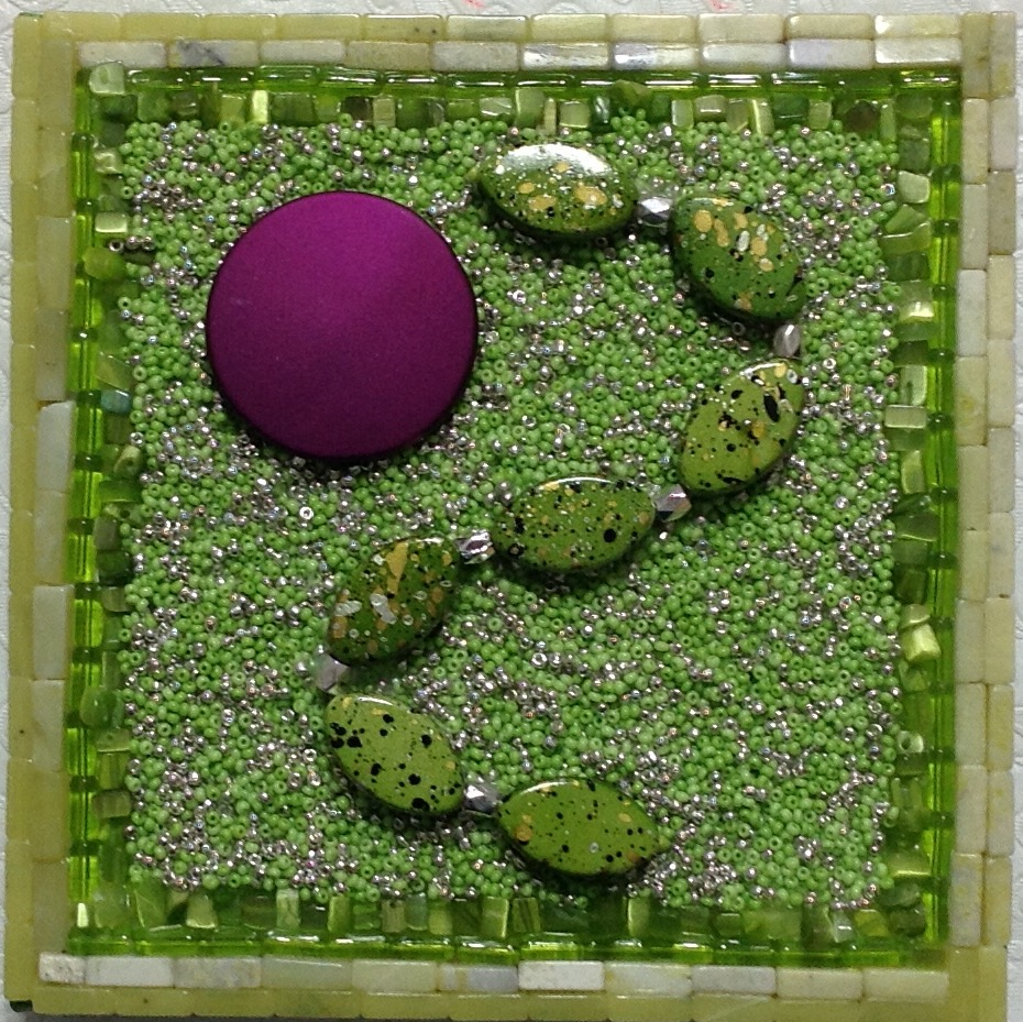 """Purple Dot"" <br>Bead Painting<br> 6""x6"""