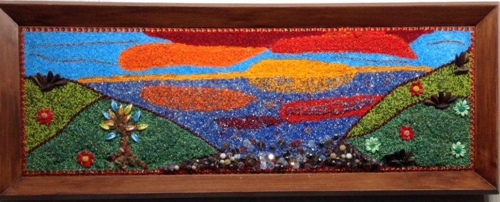 """Sunset Over Water""<br> Bead Painting<br> 39-1/2""x15-1/4"""