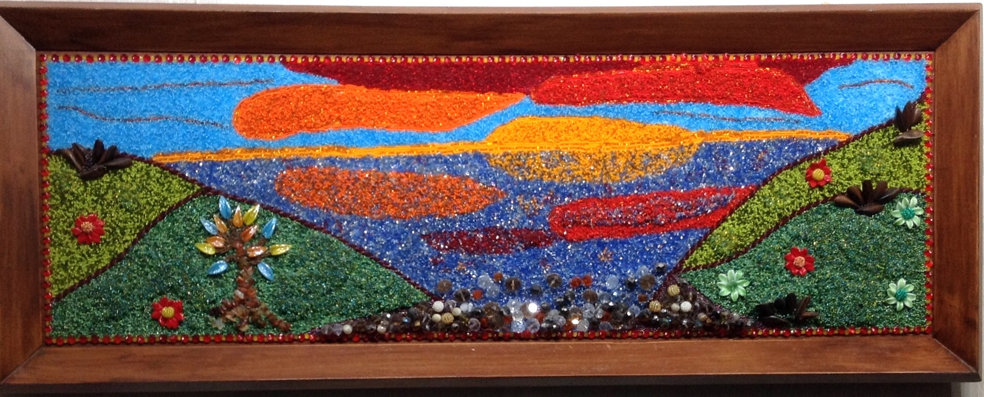 Stella Rogers-Sunset Over-Water-Bead Painting-39 1_2 x 15 1_4 inches