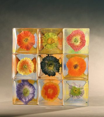 """Flowers""  <br>Cast Glass  <br>4-1/2""x4-1/2""x3-1/2"""