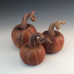 """Jeanne Demers Pumpkin Trio"""" Ceramics"""