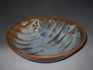 "Prisca Benson-Fittshur-""Linear Statement Bowl"" - Wood Ash and Iron Glazes - 14"" dia"