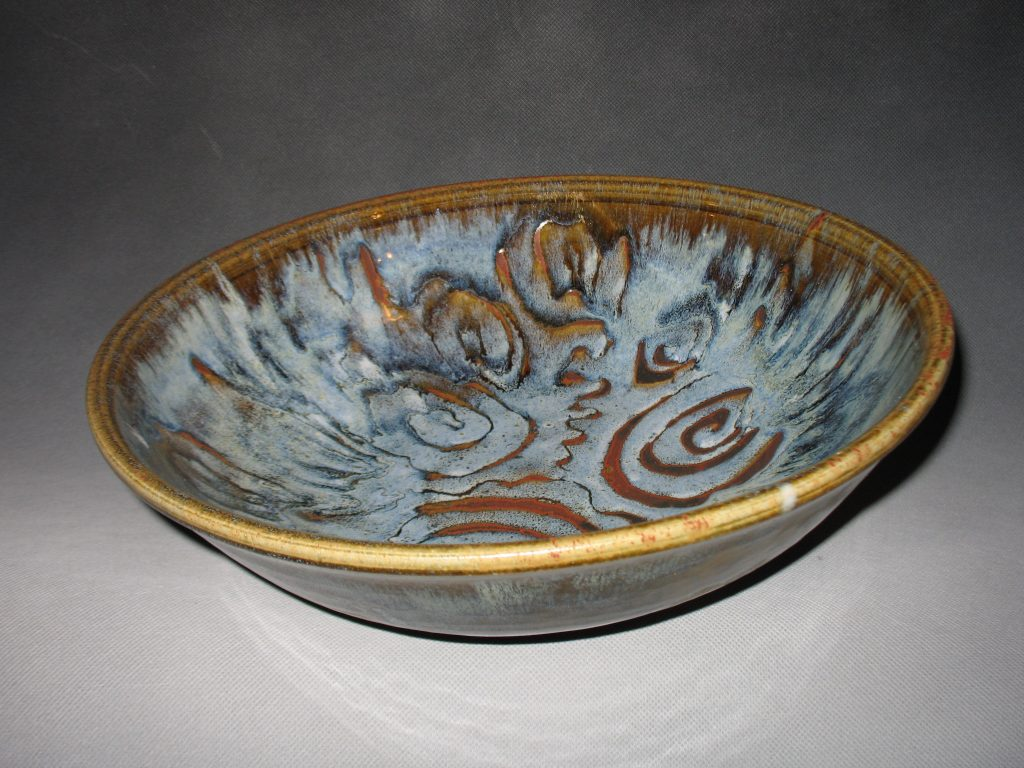 "Prisca Benson-Fittshur-""Swirling Waters Bowl"" - Wood ash and Iron glazes 14"" dia"