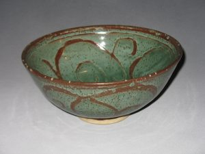 Prisca Benson-Fittshur Bowl - Copper wash glaze with Wax Resist Brushwork