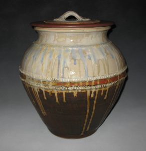 "Prisca Benson-Fittshur Covered Floor Vase"" - Wood Ash Glaze - 2' plus height"