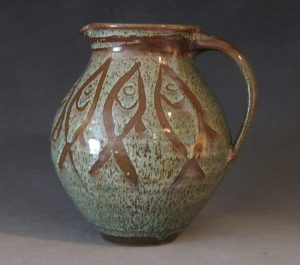 "Prisca Benson-Fittshur Pitcher - 9"" height - Wax Resist brushwork with Copper Wash Glaze"