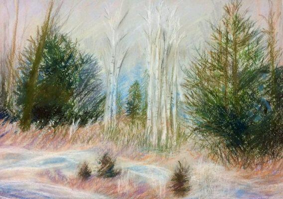 """Foggy Birch""<br> Pastel<br> 11x14"