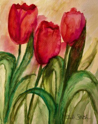 """Spring Tulips"" <br>Watercolor<br> 8x10"
