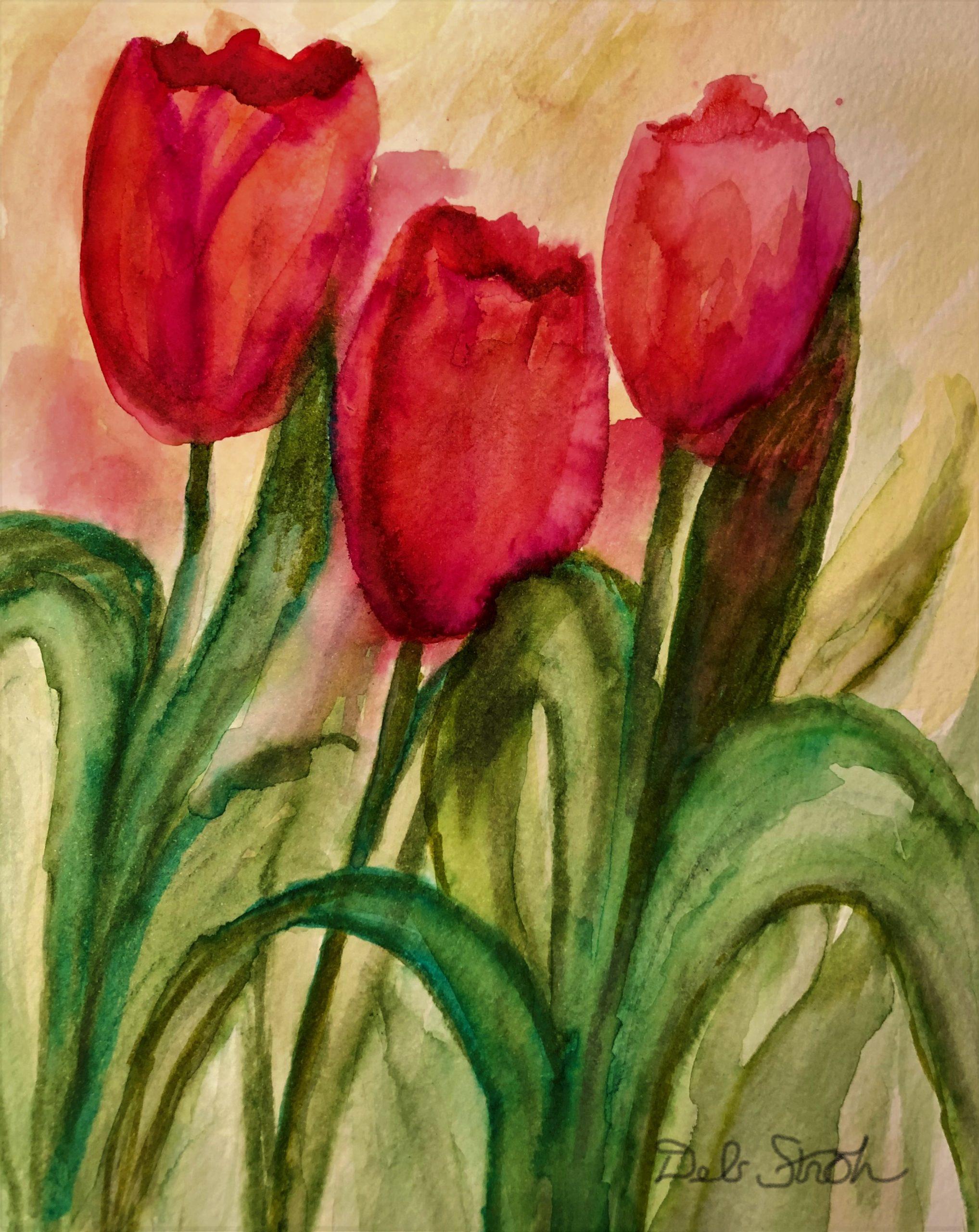 "Deb Stroh-Larson ""Spring Tulips"" Watercolor 8x10"