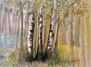 """Deb Stroh-Larson """"White Birch"""" Watercolor 16x20"""